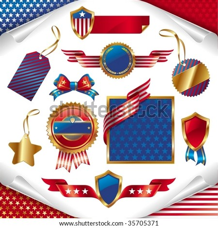 Vector collection: usa patriotic signs, labels, tags and emblem - stock vector