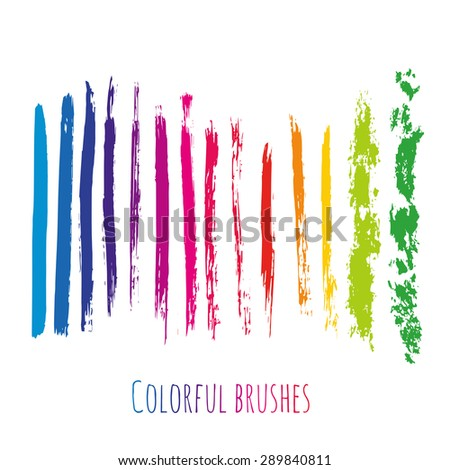 Vector collection with colorful brush strokes elements. Rainbow paint spots set isolated - stock vector