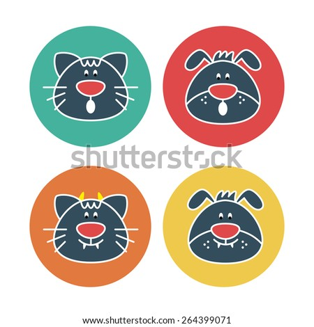 Vector collection with funny cats and dogs in round labels - stock vector