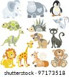Vector collection with images for decoration of pages and greetings with different animals - stock vector