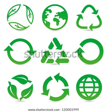 vector collection with recycle signs and symbols in green color - stock vector