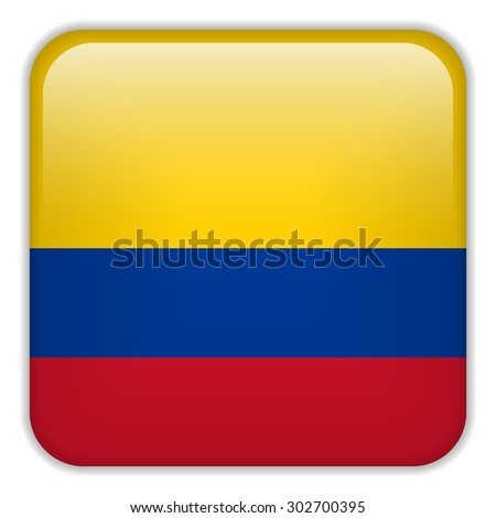 Vector - Colombia Flag Smartphone Application Square Buttons - stock vector