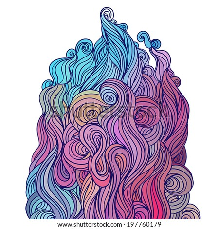 Vector color abstract hand-drawn hair pattern with waves and clouds. Asian style element for design.   - stock vector