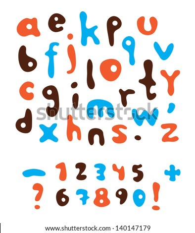 Vector color alphabet and numerals. / Vector alphabet. - stock vector