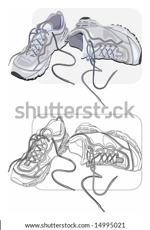 Vector color and line-art images of old sneakers. - stock vector