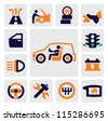 Vector color auto icons set on gray - stock vector