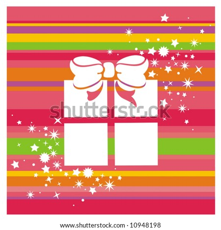 vector color background with gift box and stars