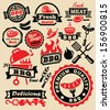 vector color barbecue grill party icons set - stock vector