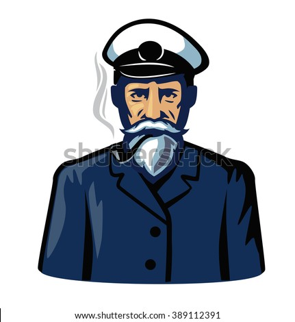 vector color captain icon on white background - stock vector