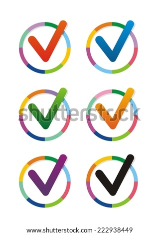 Vector color check marks icons. Set on white background.  - stock vector