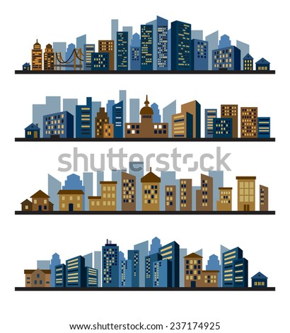 vector color cities silhouette icons set on white - stock vector