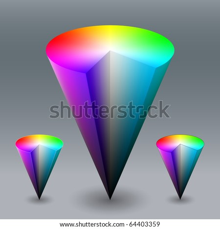 Vector color cone, representing HSV (HSB) color space. Created using gradient meshes. - stock vector