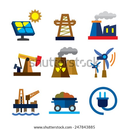 vector color energy icons on white background - stock vector