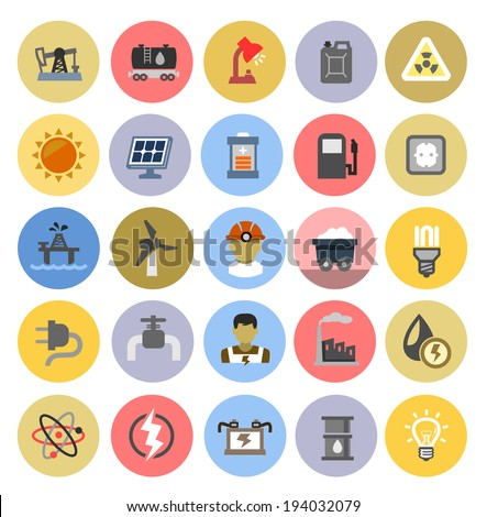 vector color energy icons set on white - stock vector