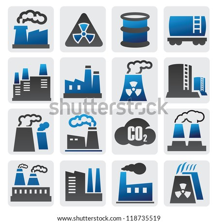 vector color factory icons set on gray - stock vector