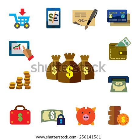 vector color finance icons on white background - stock vector