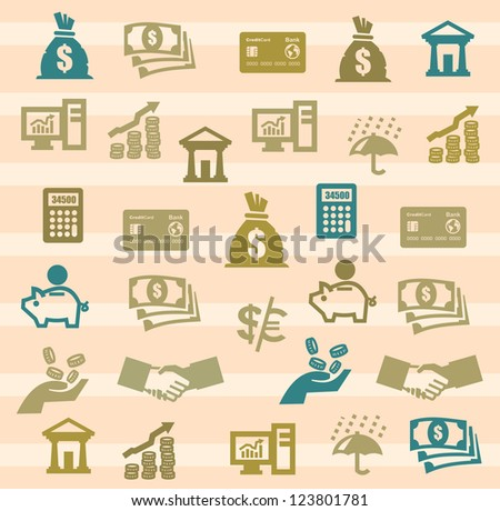 vector color finance icons set on background - stock vector
