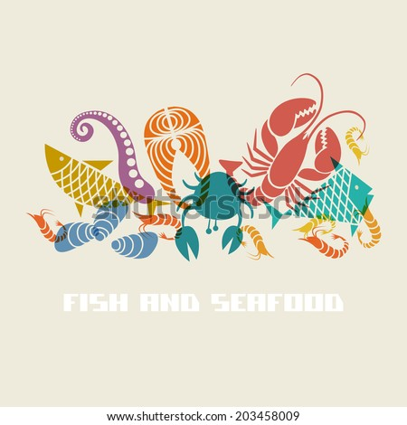 Vector color fish and seafood icon. Food sign for menu and market. Illustration for print, web - stock vector