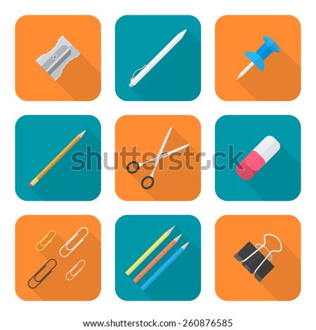vector color flat design various stationery icons set long shadow