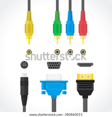 vector color flat design video connectors plugs S-Video RCA component HDMI VGA port illustration collection isolated white background  - stock vector