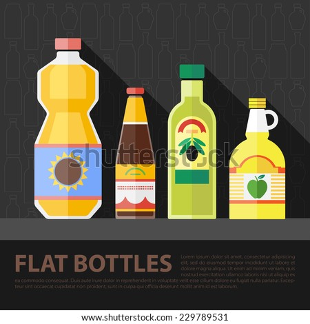 Vector color flat kitchen bottle set . Eps10 - stock vector