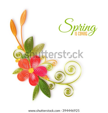 Vector color flower branch in quilling technique . - stock vector
