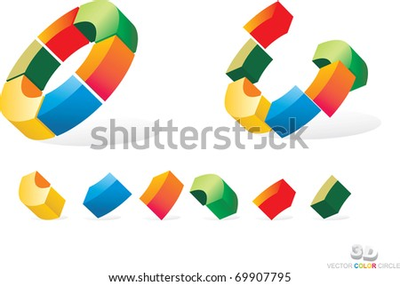 vector color folded chart - stock vector
