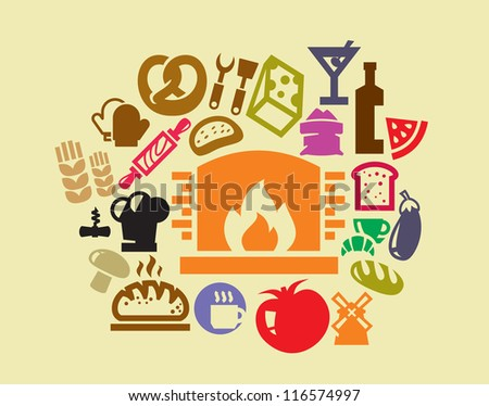 vector color food icon set on yellow