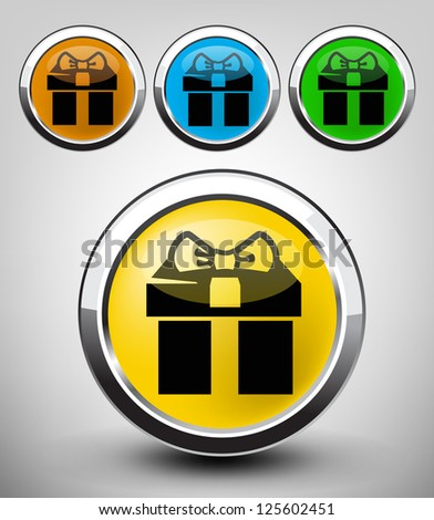 vector color glossy gift icon set for web applications - stock vector