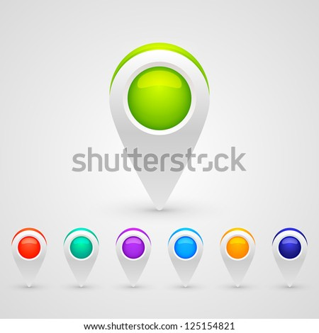 Vector color GPS pin icons for infographic - stock vector