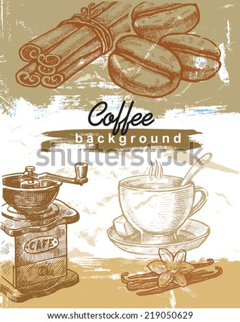 vector color hand drawn picture of coffee theme - stock vector