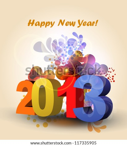 vector color Happy New Year and xmas greeting card