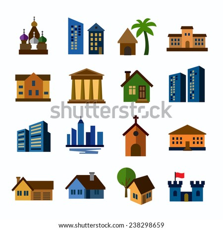 vector color hous icons set on white - stock vector