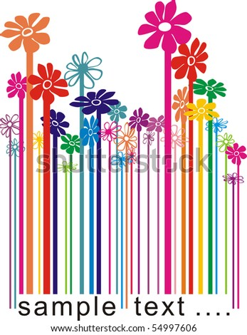 vector color illustration bar code changing the flowers - stock vector