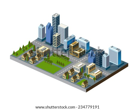 vector color illustration of isometric city map - stock vector