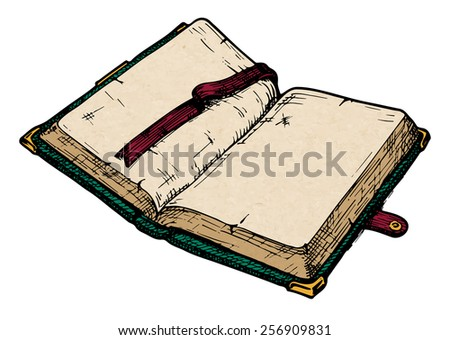vector color illustration of opened old book.