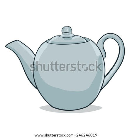 Vector color illustration painted teapot - stock vector