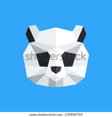 Vector Color Illustration With Geometric Panda Of Triangles Origami Style
