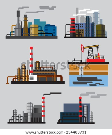 vector color Industrial building factory flat illustrations - stock vector