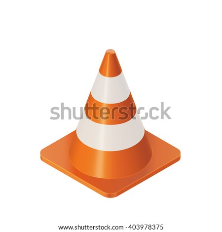 Vector Color Isometric Illustration  Of Orange Traffic Cones Barrier - stock vector