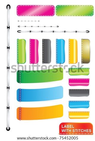 Vector Color Label With Stitches - stock vector