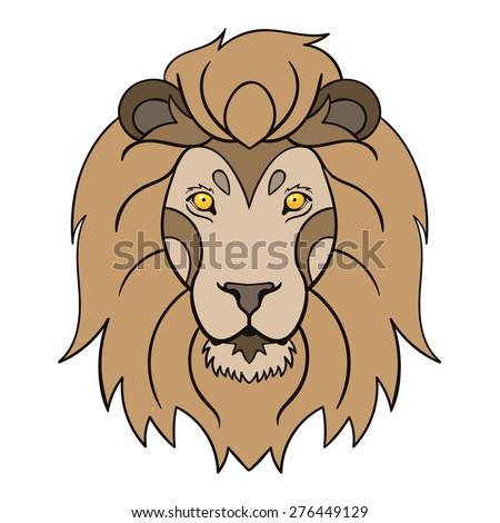 vector color lion head illustration