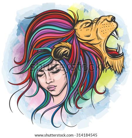 Vector Color Lion Woman Illustration - stock vector
