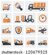 vector color logistic and shipping icon set - stock photo