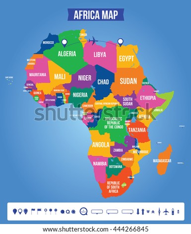 Vector color map of Africa. All objects are located on separate layers. Elements of this image are furnished by NASA.