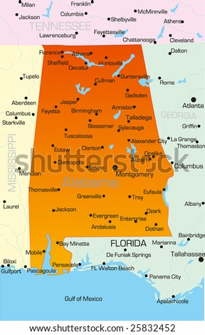 Vector color map of Alabama state. Usa. - stock vector