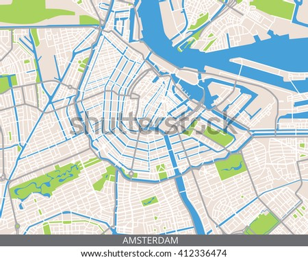 Vector Color Map Amsterdam Capital Netherlands Stock Vector - Where is amsterdam located