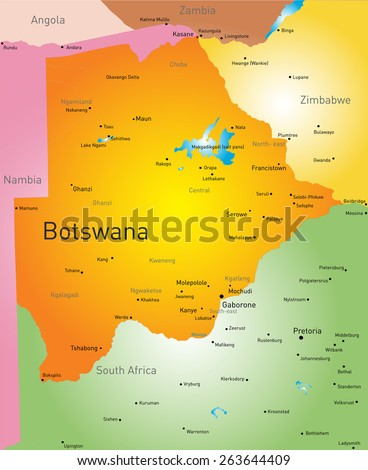 Vector color map of Botswana - stock vector