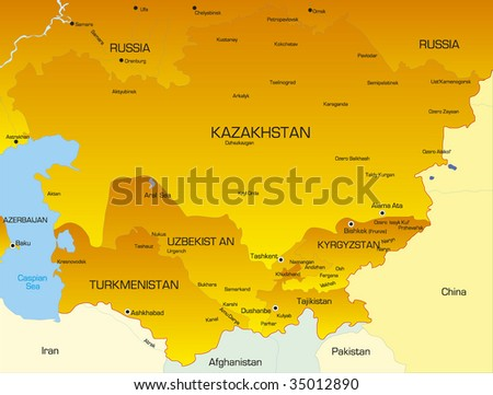 Vector color map of Central Asia countries - stock vector