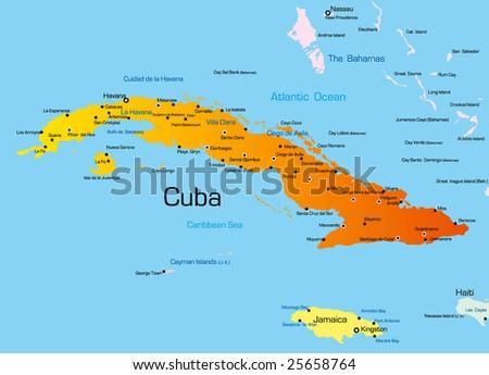 Vector color map of Cuba country - stock vector